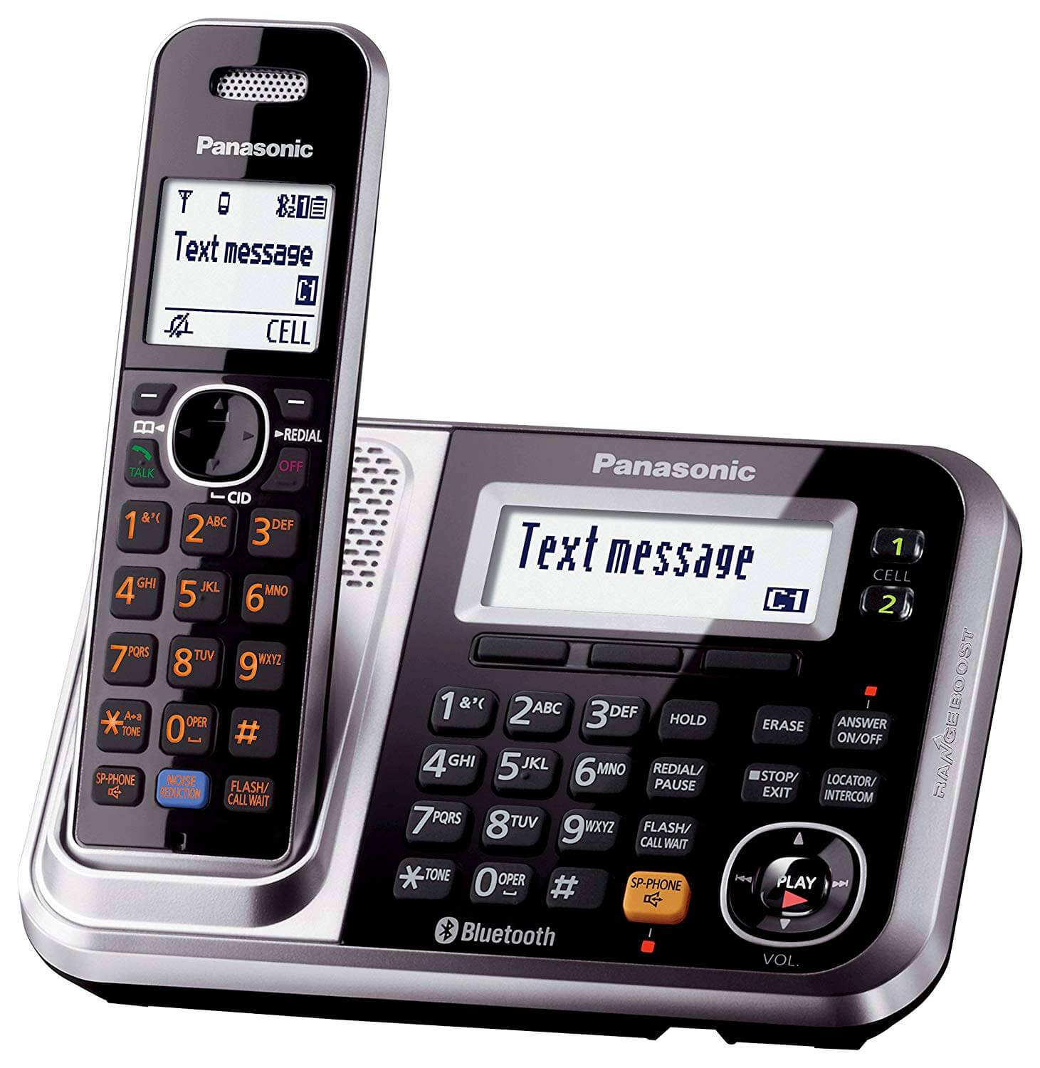 Panasonic Bluetooth Cordless Phone KX-TG7875S Link2Cell with Enhanced Noise Reduction & Digital Answering Machine