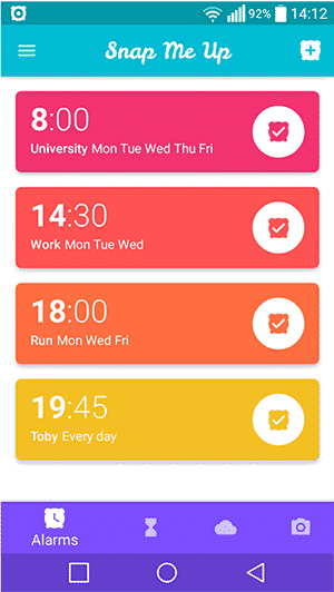 Simple Clock Apps for Android - Snap Me Up - Main Interface