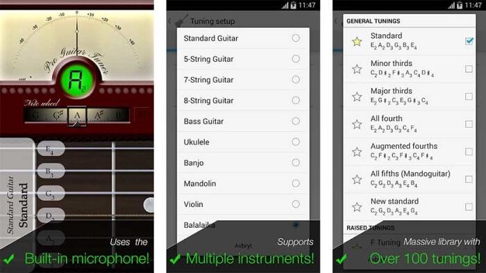 Pro Guitar Tuner app interface