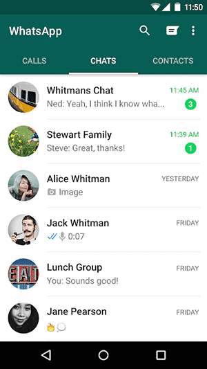 Best VOIP apps and SIP apps for Android - WhatsApp Messenger - Main Interface