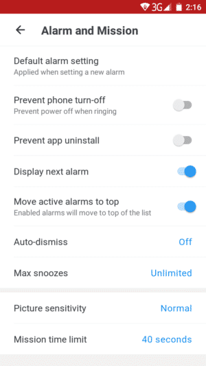 Various settings to setup