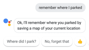 Users can ask Google Assistant where they have parked