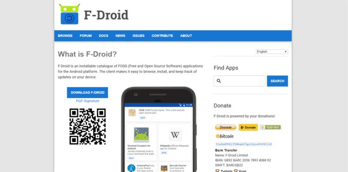 Fdroid webpage