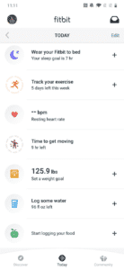 Today tab in the redesigned Fitbit app