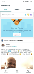 Community tab in the redesigned Fitbit app