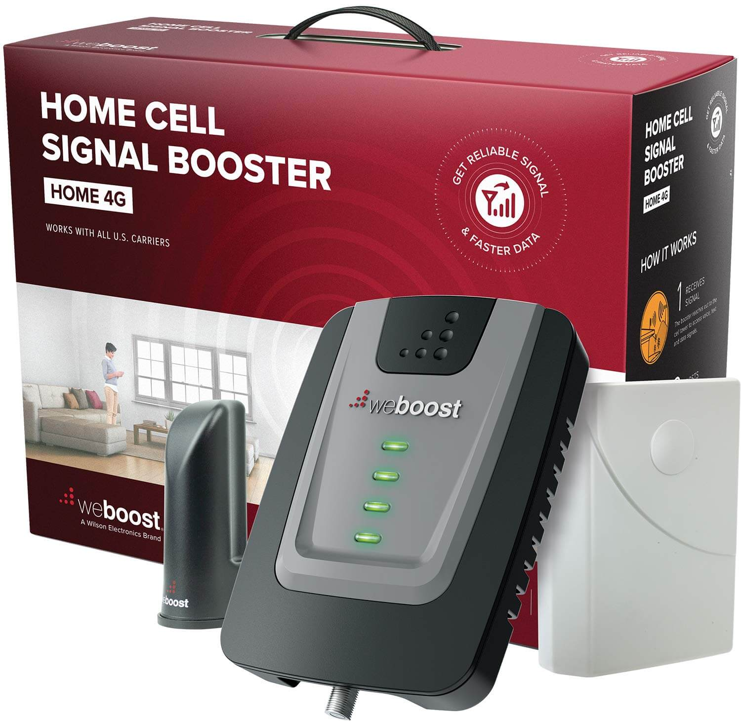 weBoost Home 4G 470101 Cell Phone Signal Booster for Home and Office - Verizon AT&T T-Mobile Sprint - Enhance Your Cell Phone Signal up to 32x