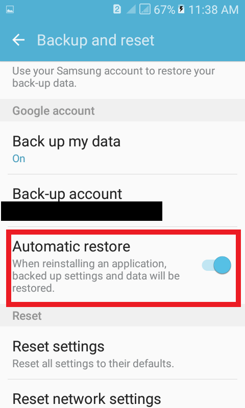Turn on automatic restore feature