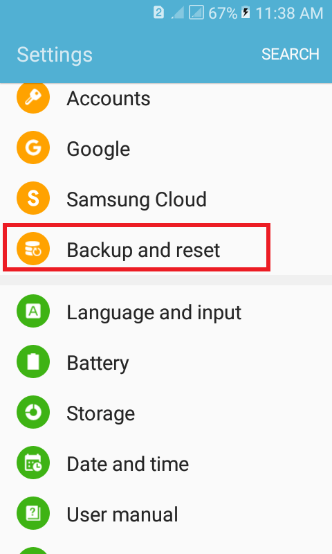 "Access ""Backup and reset"" to backup your device before resetting"