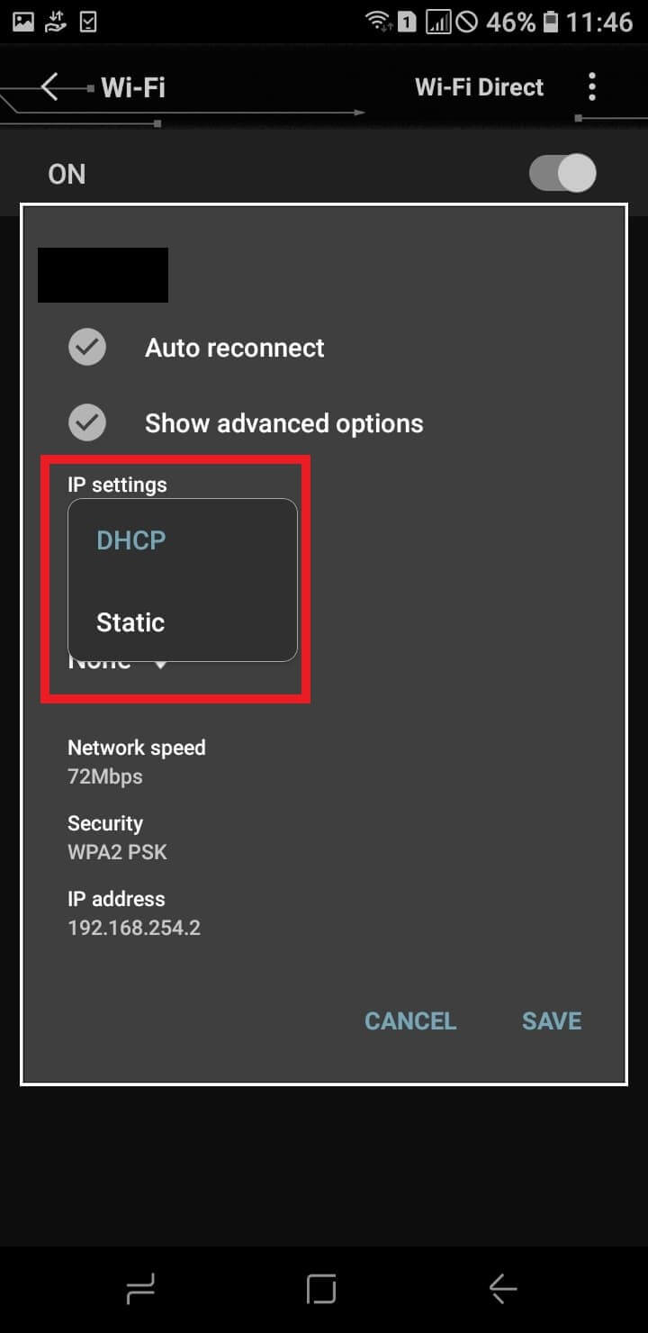 Change the network you're connected to to static to fix wifi authentication error