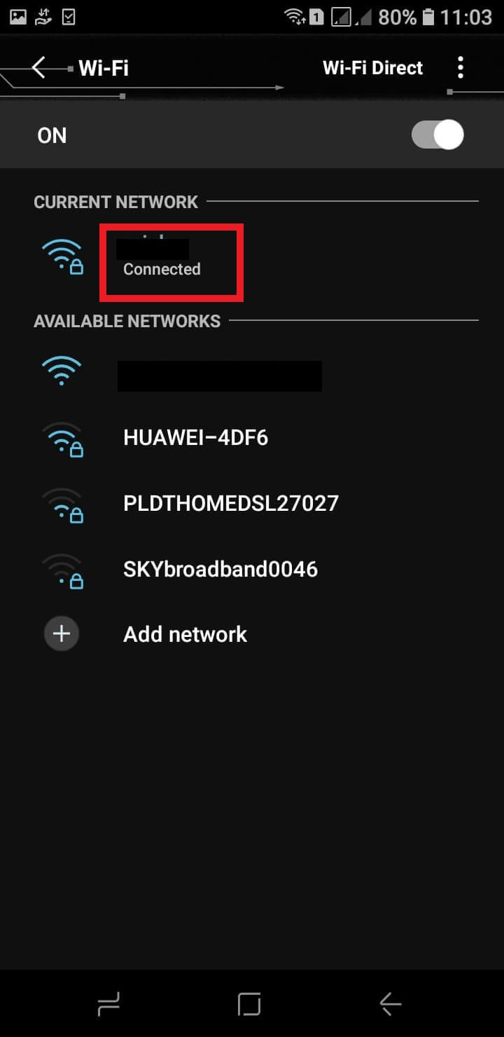 find your current network connection