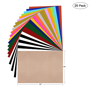 HTV Heat Transfer Vinyl Bundle: 25 Pack Assorted Colors
