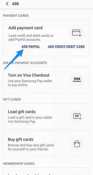 Samsung Pay - Add Paypal