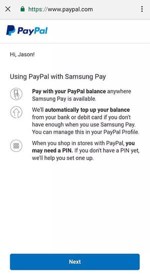Samsung Pay - Paypal Authorization