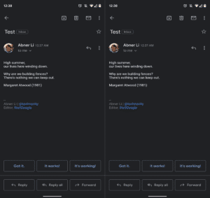 Dark Mode in Gmail also extends to composing of emails (Photo credits: 9To5Google)