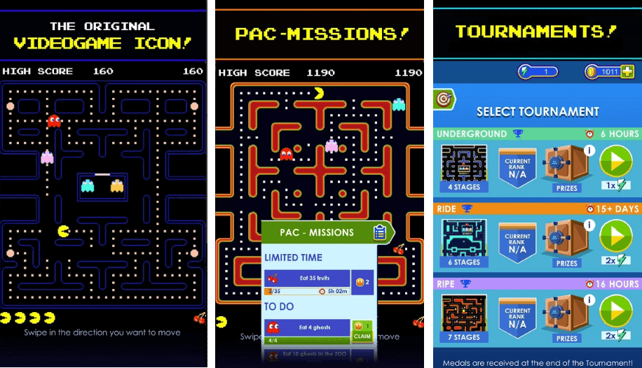 Arcade Game for Android: PAC-MAN Classic, Pac-Missions and Weekly Tournaments