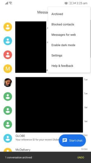 "Select ""Archived"" on your messaging app to hide SMS on Android"