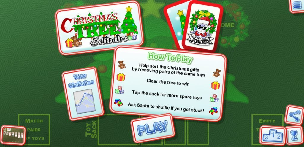 Best Christmas Solitaire Game Apps - Christmas Tree Solitaire Home Page UI