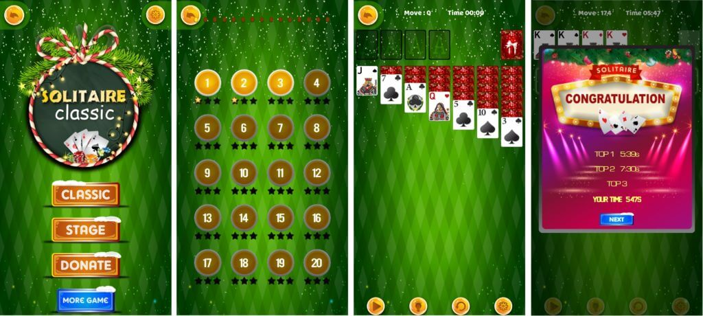 Best Christmas Solitaire Game Apps - Classic Solitaire 2019 Home, Stages, In-game, and High Scores UI