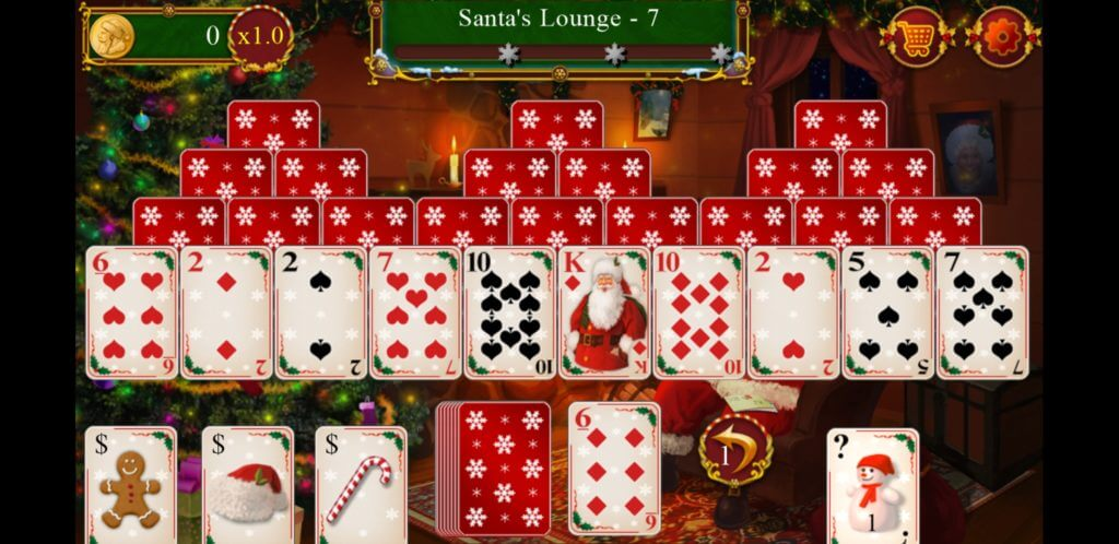 Best Christmas Solitaire Apps - Santa's Christmas Solitaire TriPreaks - In-game UI
