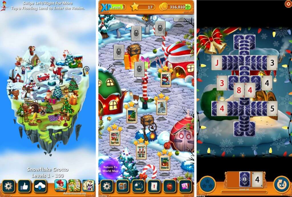 Best Christmas Solitaire Apps-Solitaire Quest: Santa's Winter Wonderland Worlds
