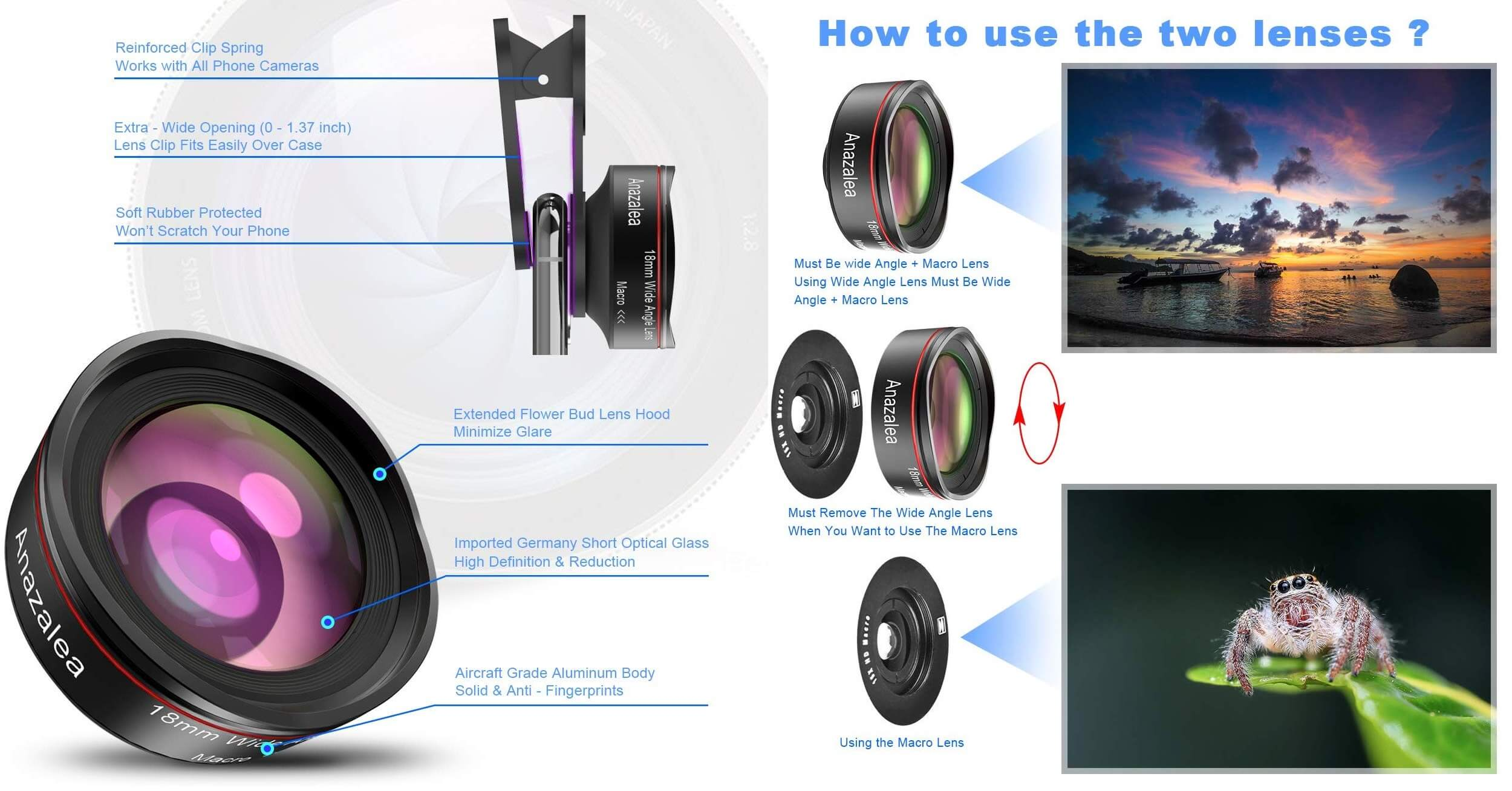 Android Camera Lens: Anazalea 2-IN-1 Lens-Features