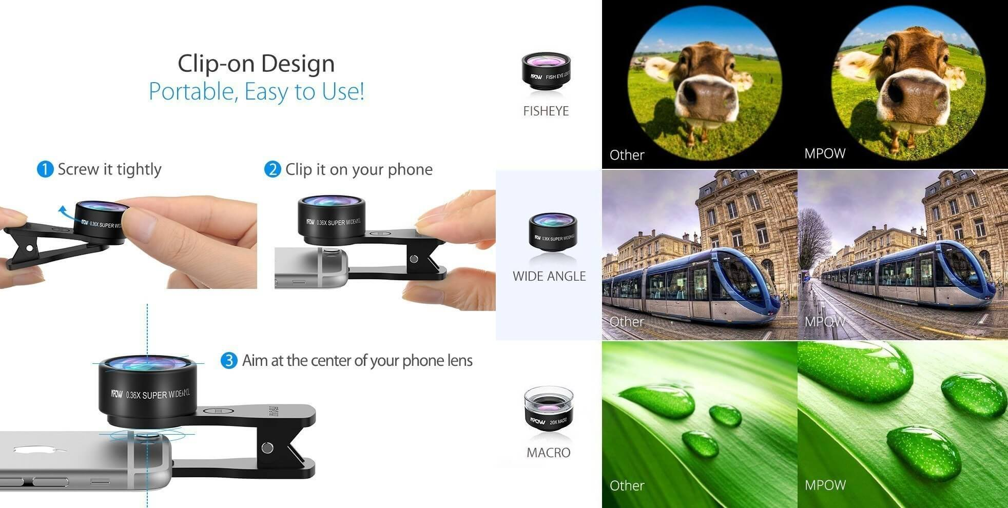 Best Camera Lens for Android: Mpow Lens Kit