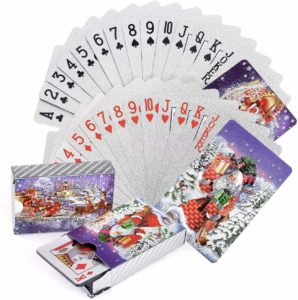 decks of Playing Cards with Christmas Pattern