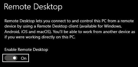 enable remote desktop windows 10 computer