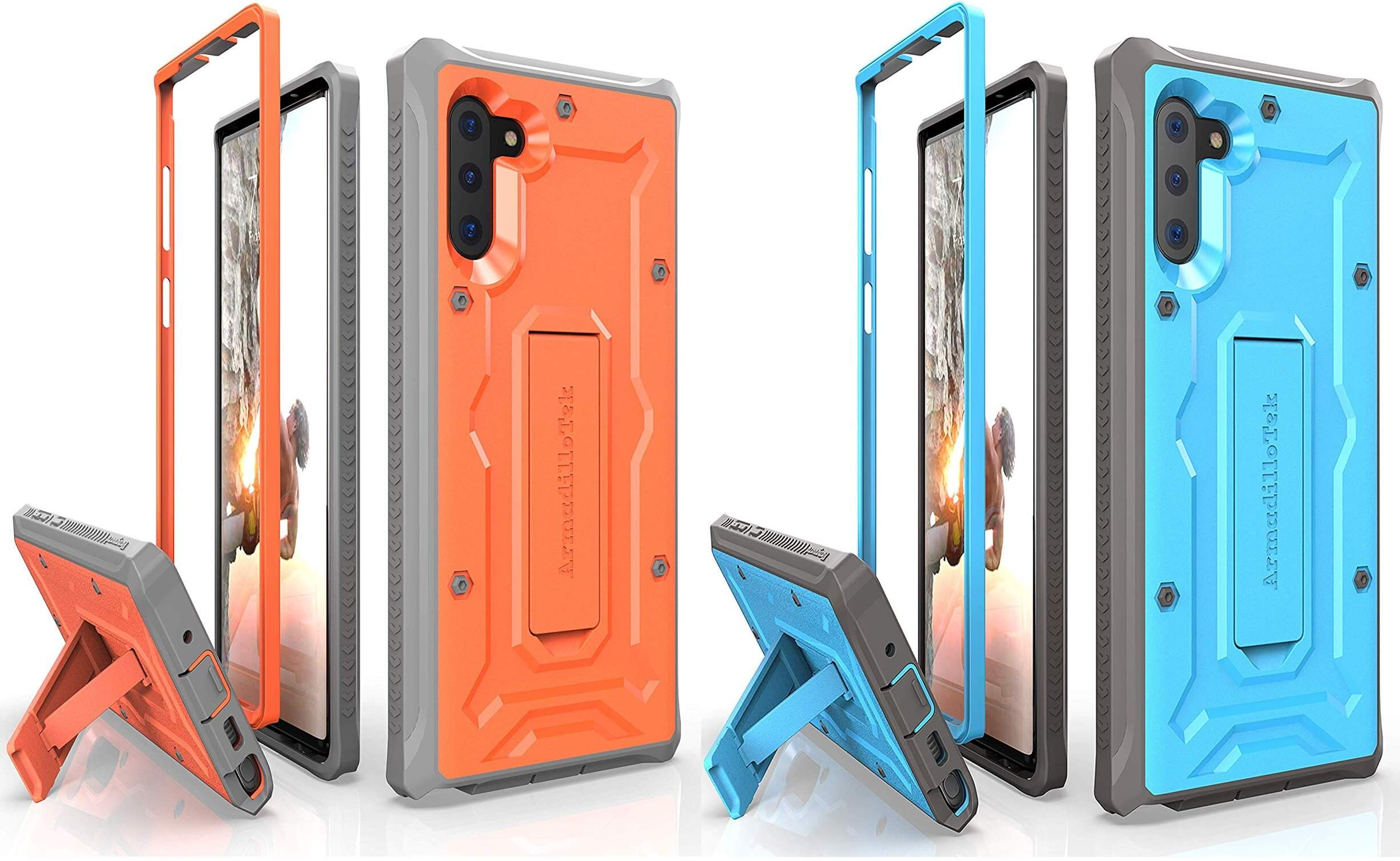 Samsung Galaxy Note 10 ArmadilloTek Vanguard Case in Orange and Blue