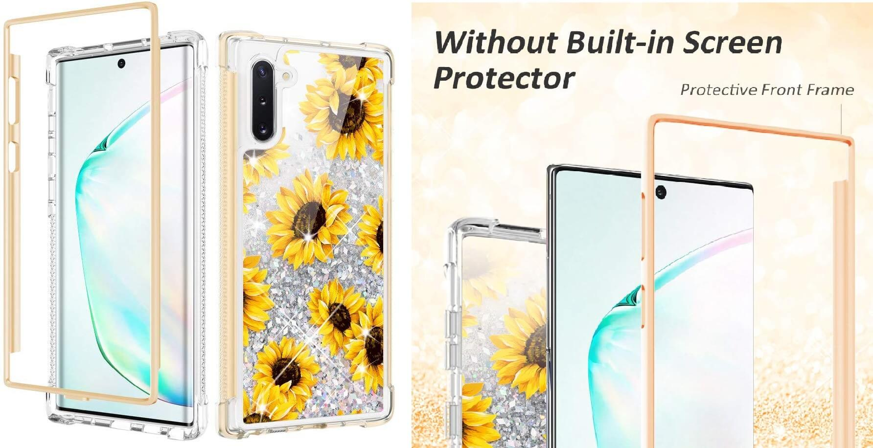 Caka Flower Glitter Full Body Case for Samsung Galaxy Note 10 in Sunflower