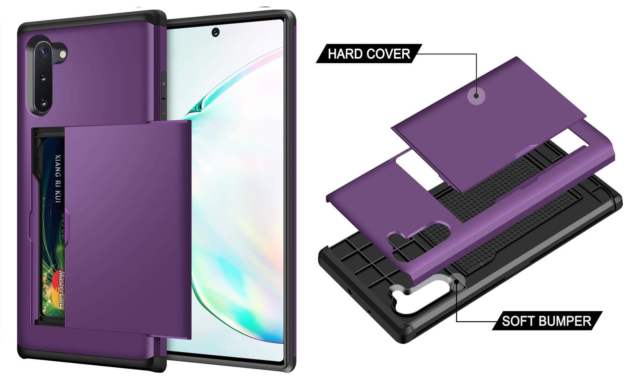 Samsung Galaxy Note 10 Samonpow Wallet Cover Case in Purple