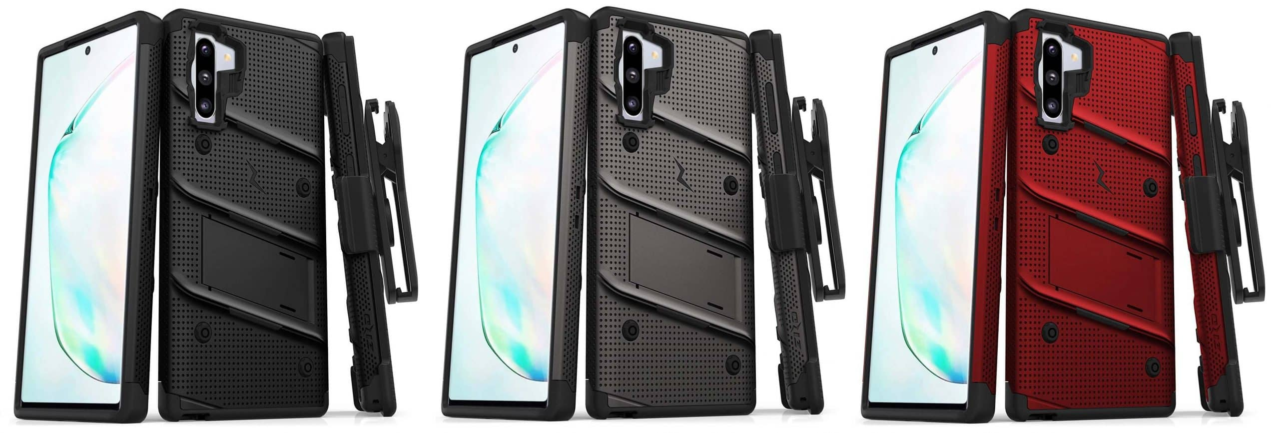 Samsung Galaxy Note 10 ZIZO Bolt Series Heavy Duty Case in Black, Gun Metal Gray, and Red