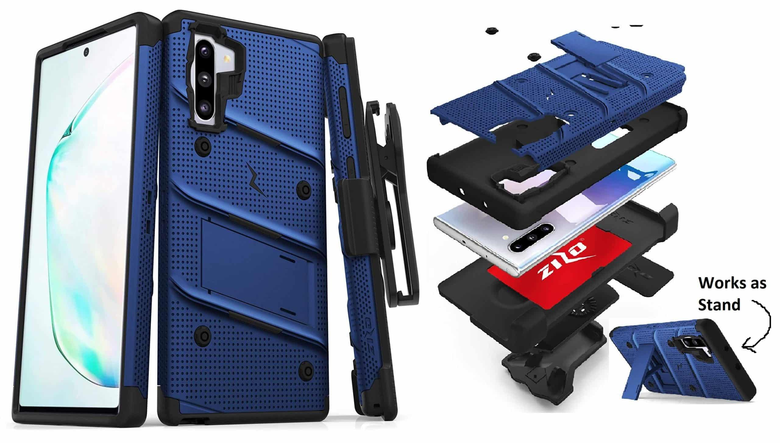 masung Galaxy Note 10 ZIZO Bolt Series Heavy Duty Case in Blue