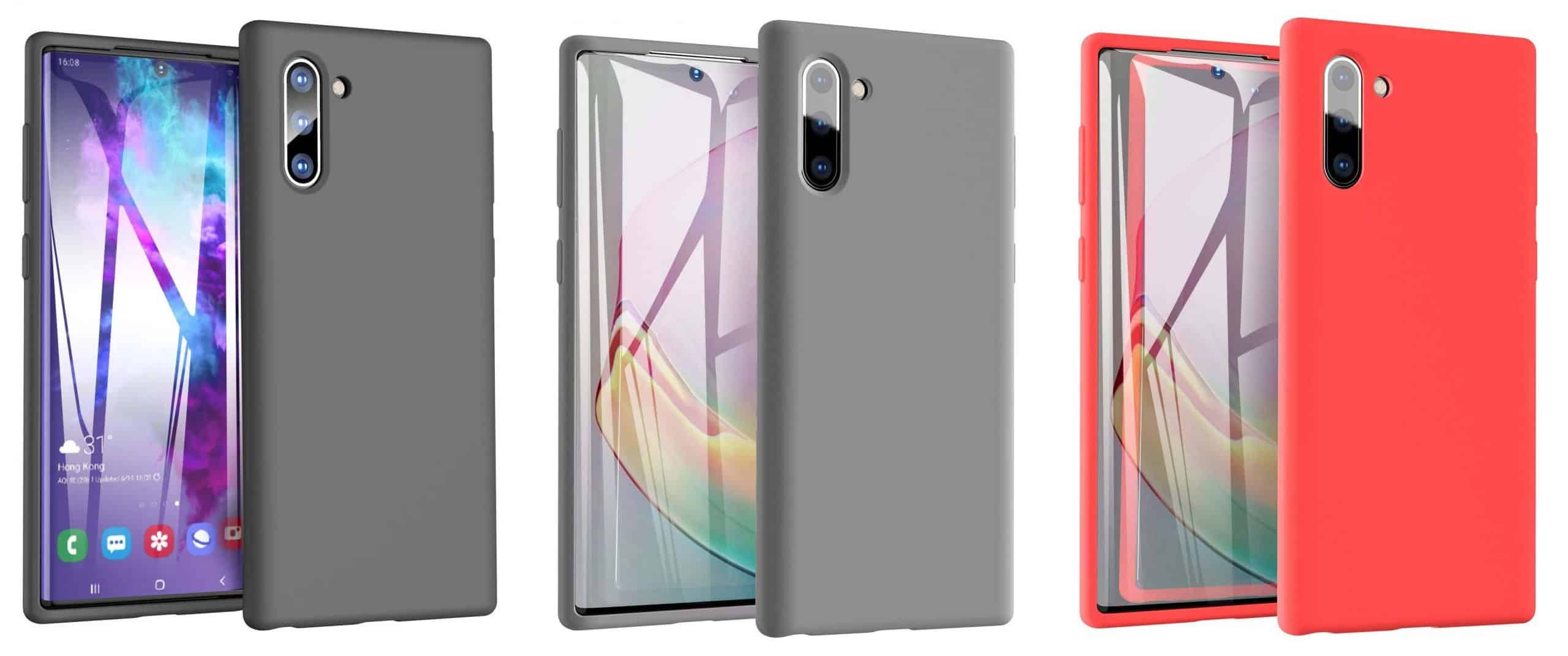 Tozo Ultra-thin Liquid Silicon Case for Samsung Galaxy Note 10 in Black, Gray, and Red.