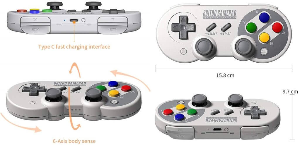 Best USB-C Game Controllers for Android- 8Bitdo SF30 Pro USB-C Controler with Joystick Features