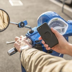 Best Motorcycle Phone Mount -Sample of Quad Lock attached to stem