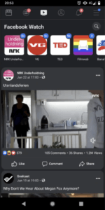 Dark Mode on Facebook being tested out on a Pixel device