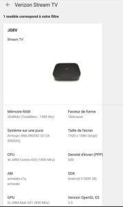 Verizon Streaming TV's specifications