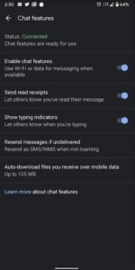 Option to upgrade to RCS Chat for Android users