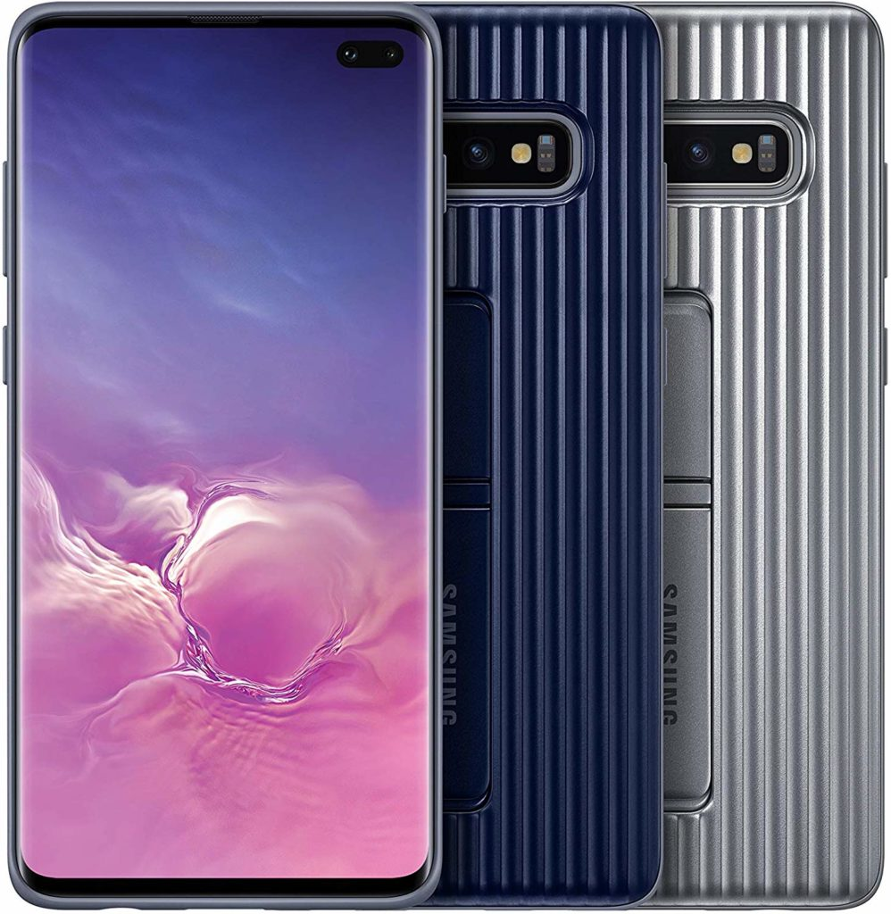 Best Samsung Galaxy S10+ Phone Cases - Rugged Protective Case with Kickstand in Blue and Silver