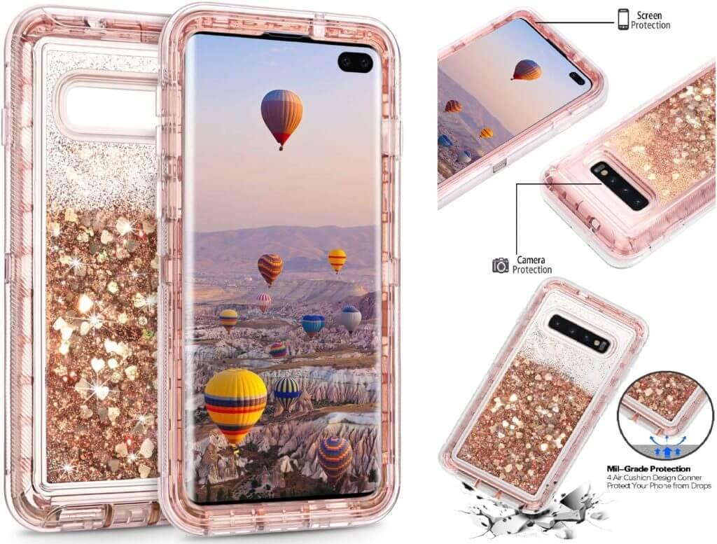 Best Samsung Galaxy S10+ Phone Cases - Coolden Glitter Quicksand Case Features