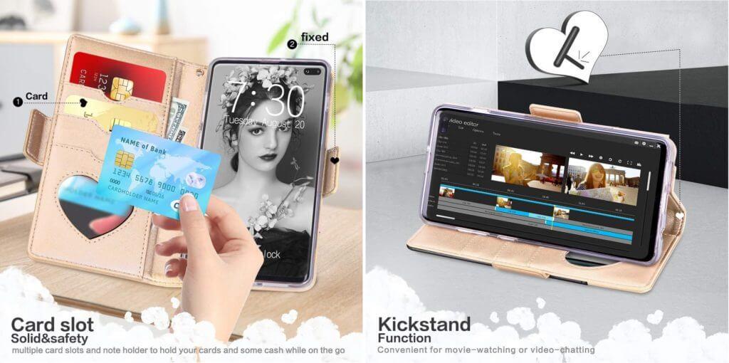 Best Samsung Galaxy S10+ Phone Cases - Jasilon Premium Leather Wallet Case Features