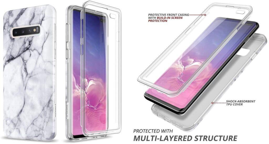 Best Samsung Galaxy S10+ Phone Cases - SURITCH Marble Full-body Case Features