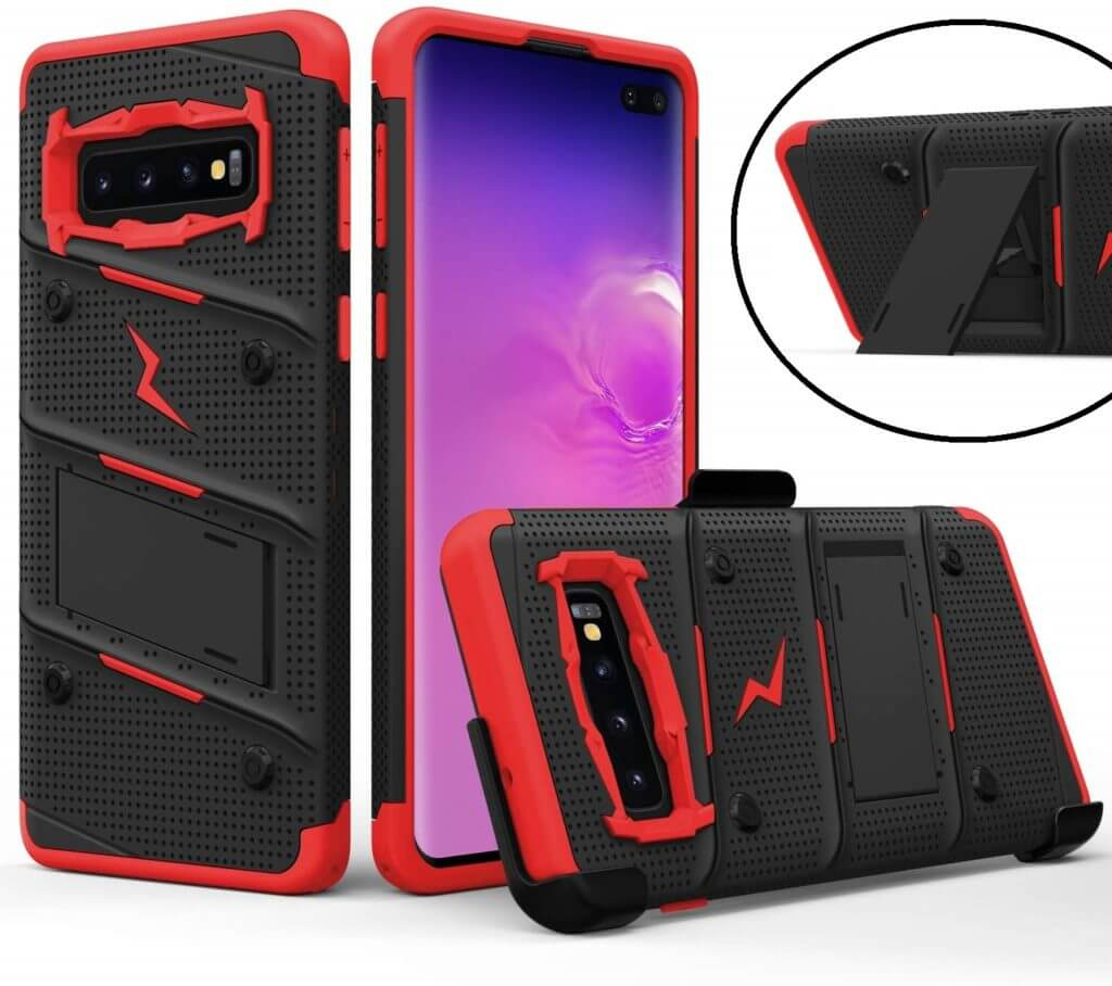 Best Samsung Galaxy S10+ Phone Cases - Zizo Bolt Series in Black-Red