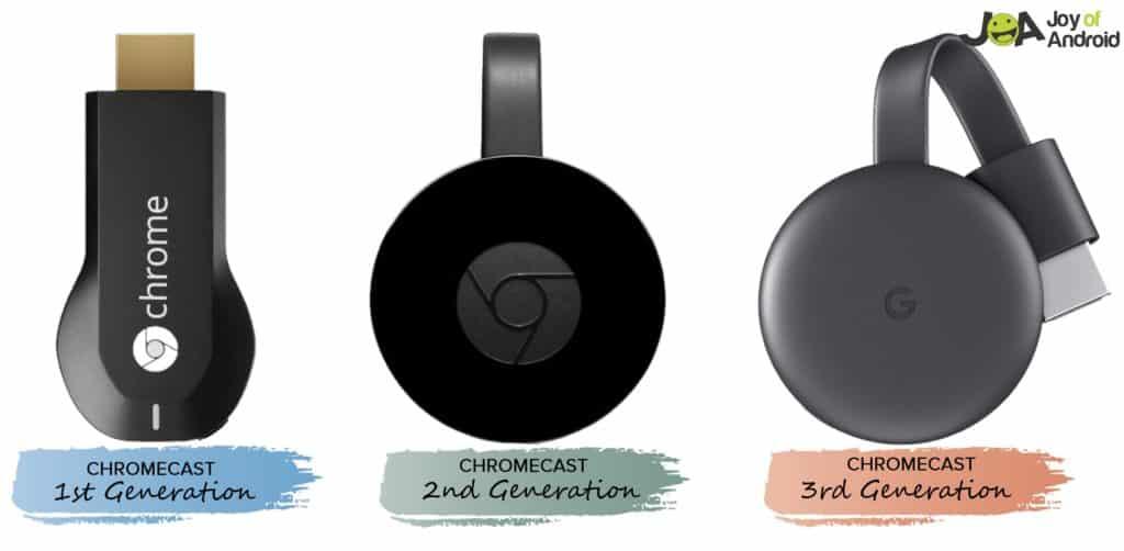 Google Chromecast 1st 2nd 3rd Gen Generation Comparison