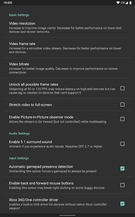Adjust Moonlight App Settings