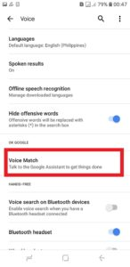 Select Voice match
