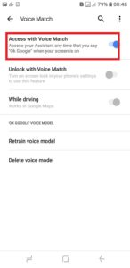 Turn on Access with voice match