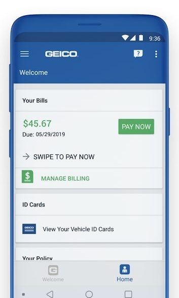 Best Auto Insurance Apps for Android - Geico Mobile Bills