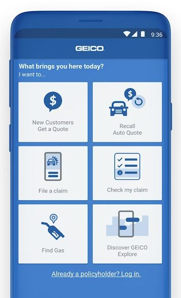 Best Auto Insurance Apps for Android - Geico Mobile Policy